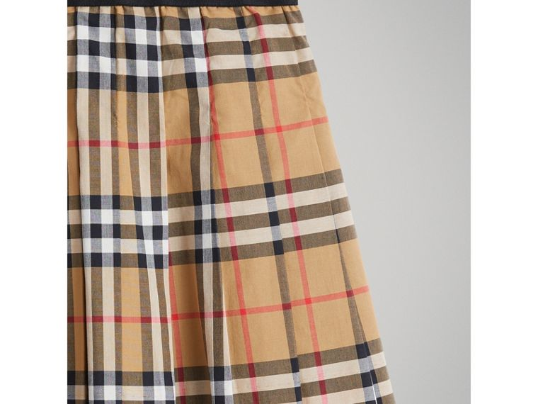Pleated Vintage Check Cotton Skirt in Antique Yellow - Girl | Burberry - cell image 4