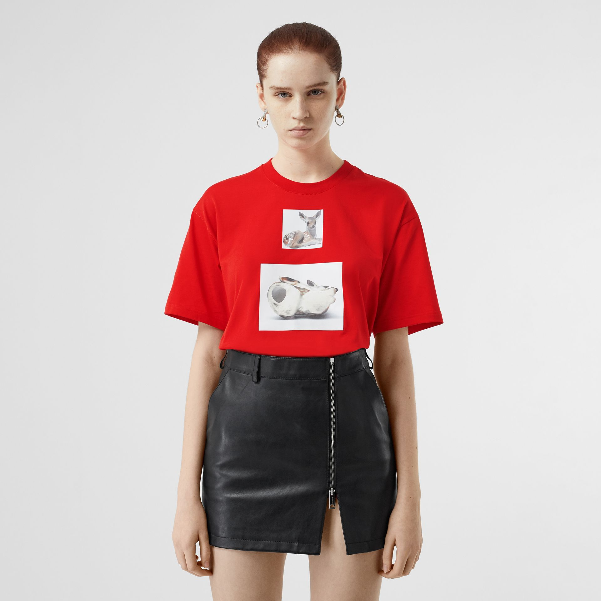 Deer Print Cotton Oversized T-shirt in Bright Red - Women | Burberry - gallery image 4