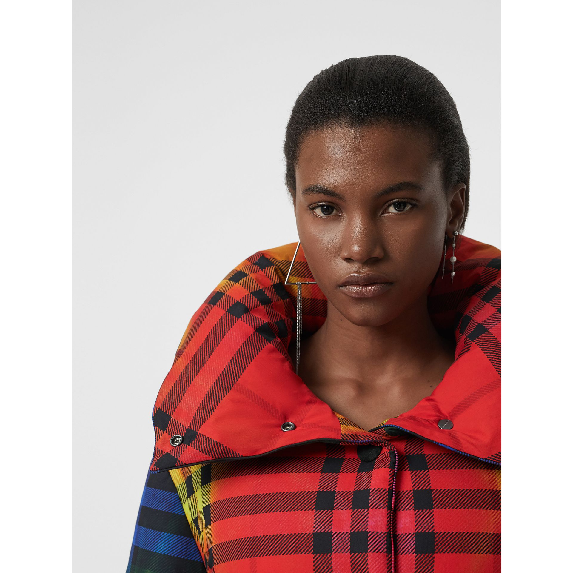 Tie-dye Vintage Check Down-filled Puffer Coat in Bright Red - Women | Burberry - gallery image 5