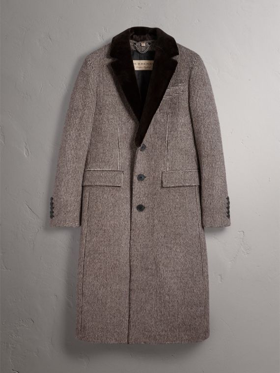 Detachable Mink Collar Alpaca Wool Tailored Coat in Dark Brown - Men | Burberry - cell image 3