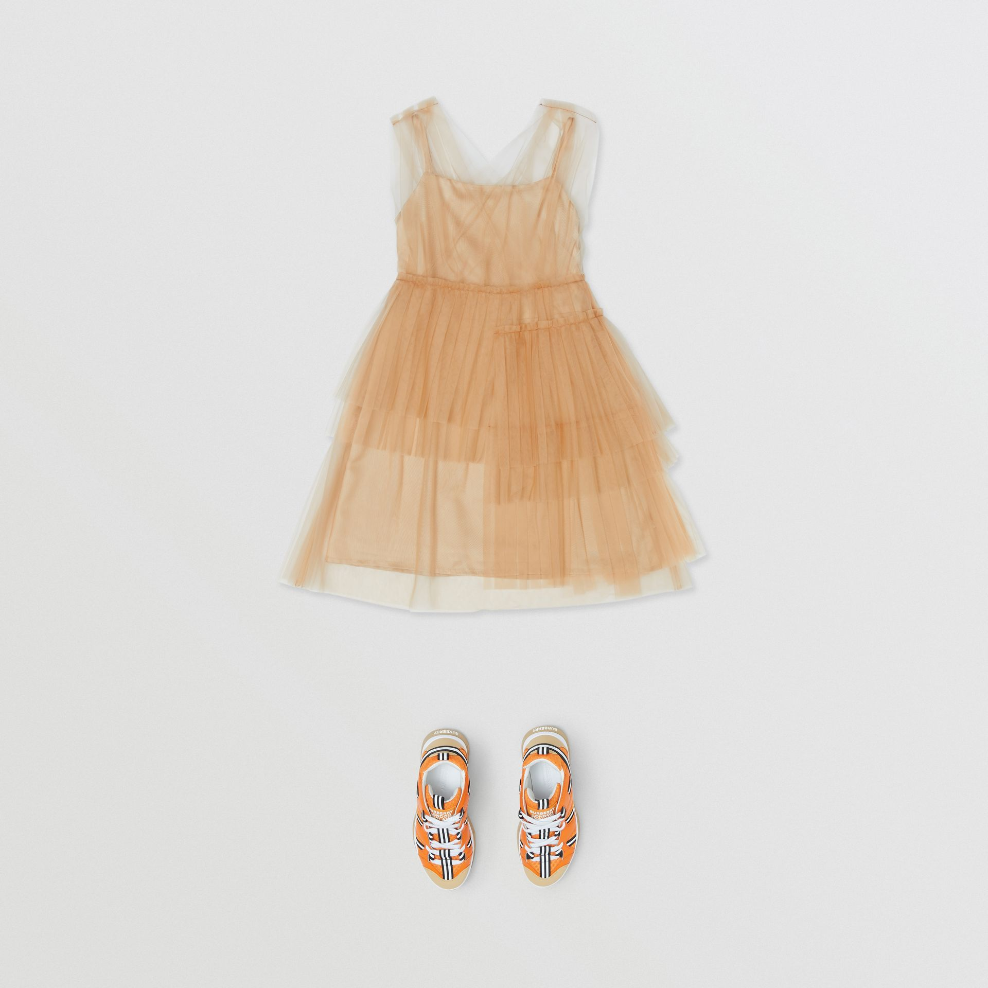 Tulle Tiered Dress in Oyster Beige | Burberry United Kingdom - gallery image 2