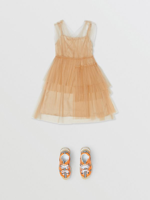 Tulle Tiered Dress in Oyster Beige | Burberry United Kingdom - cell image 2