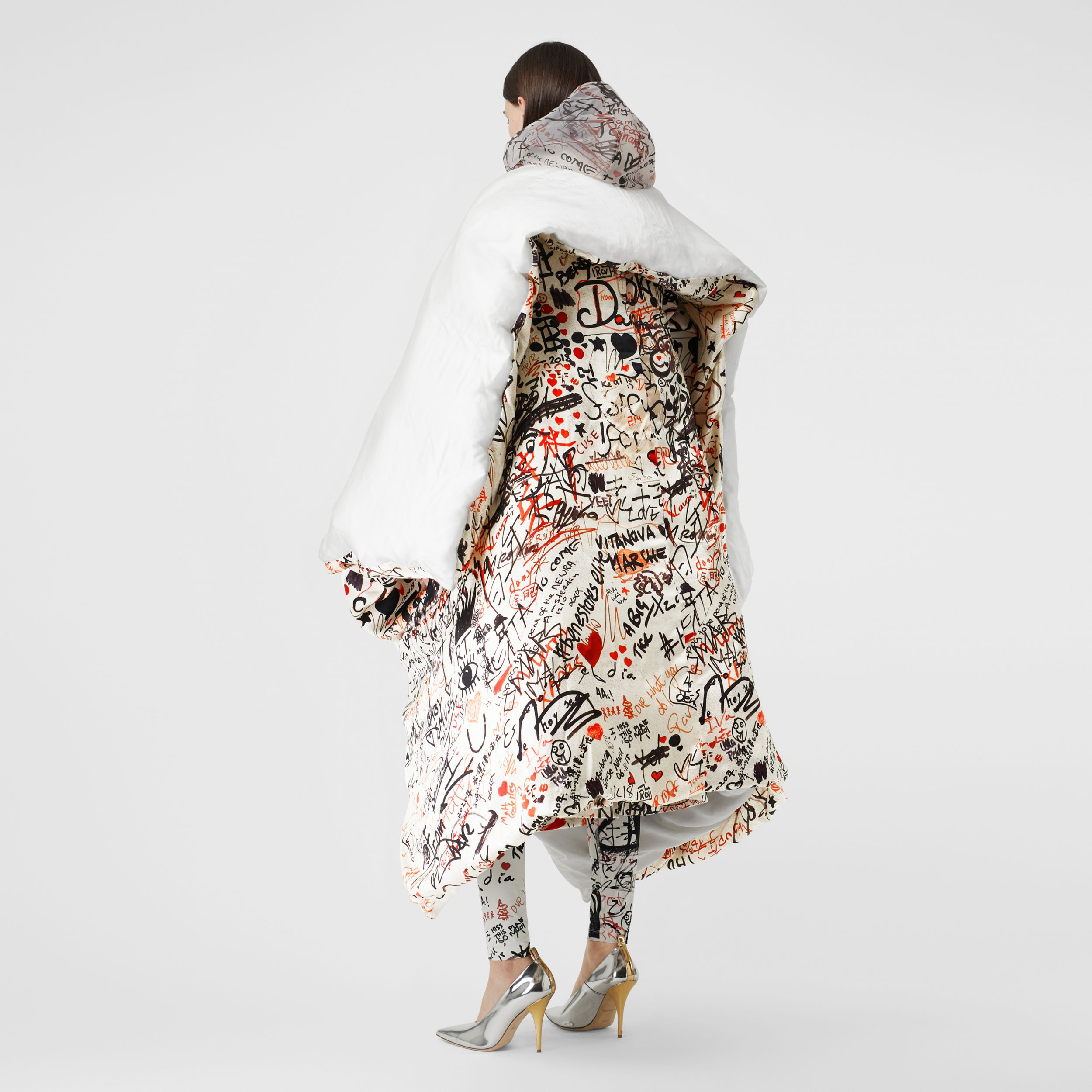 Graffiti Print Silk Satin Oversized Puffer Cape in Natural White - Women | Burberry - 3