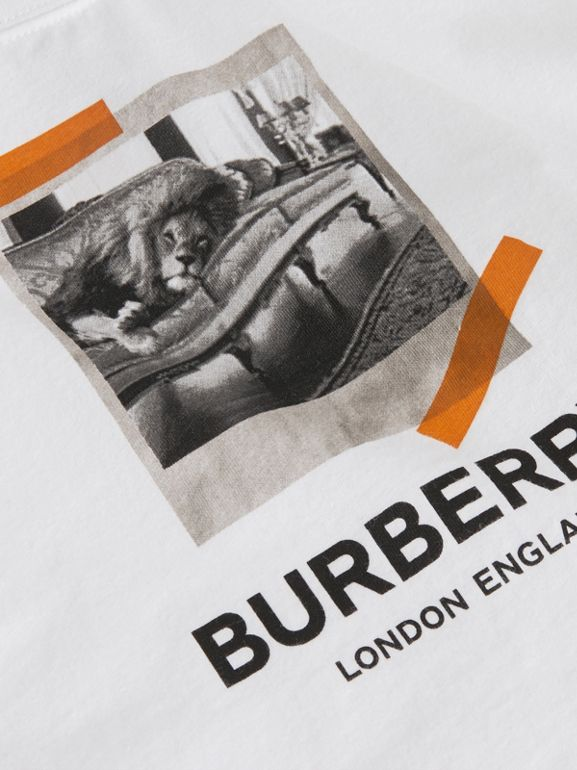 Vintage Polaroid Print Cotton T-shirt in White - Children | Burberry - cell image 1