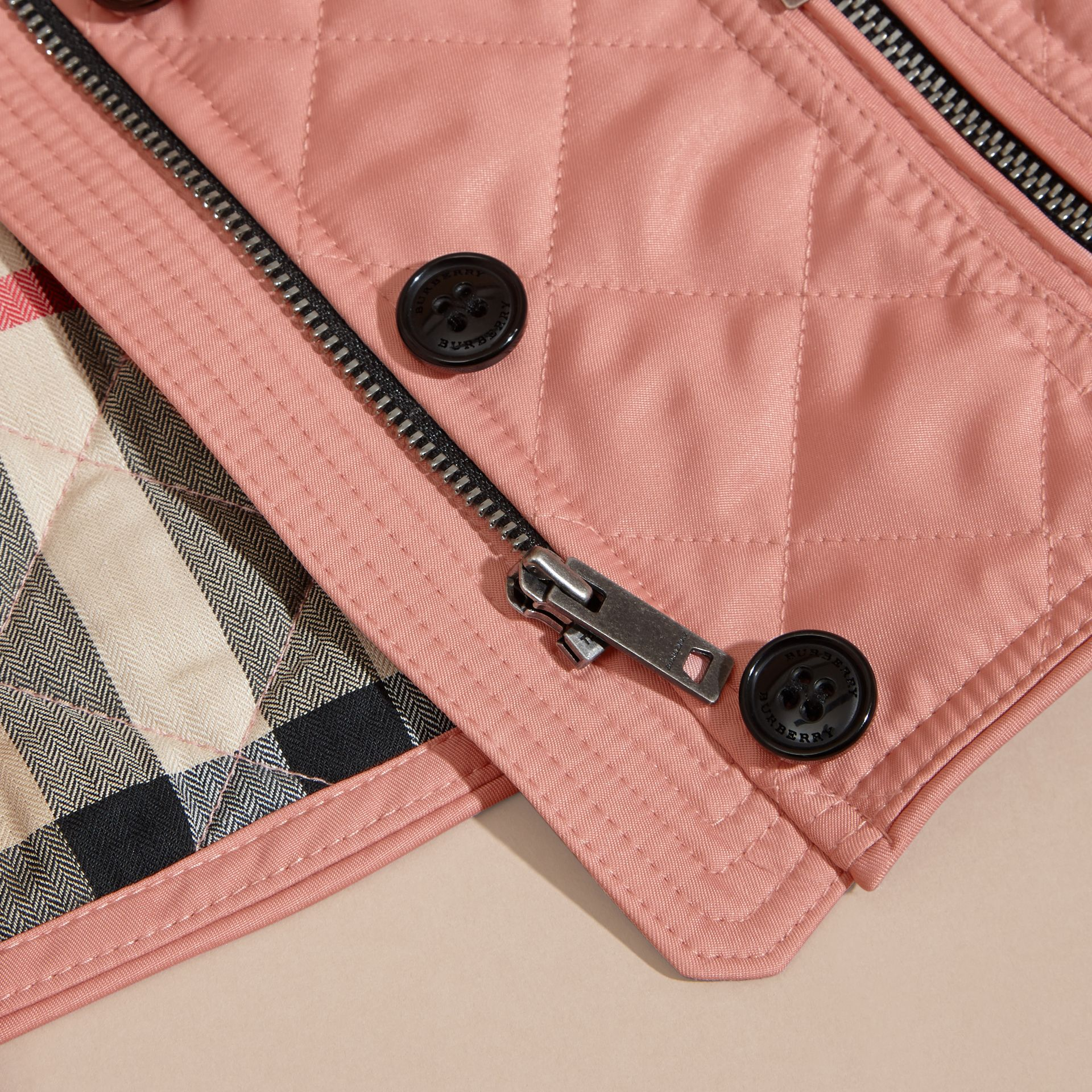 Light copper pink Collarless Diamond Quilted Jacket - gallery image 2