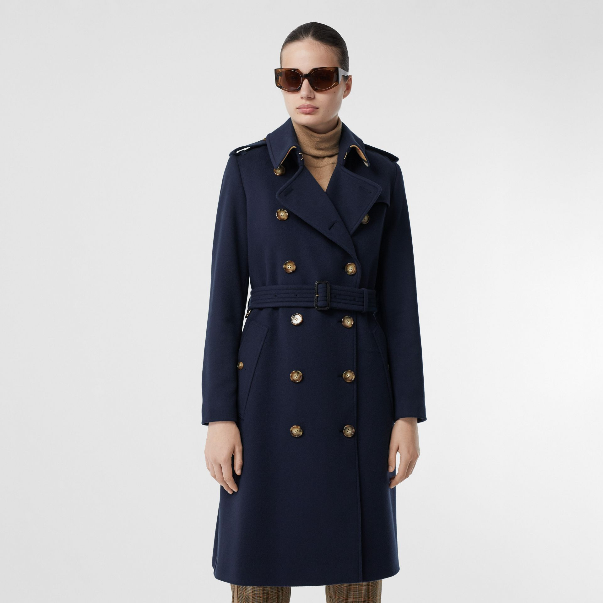 Cashmere Trench Coat in Navy - Women | Burberry - gallery image 6