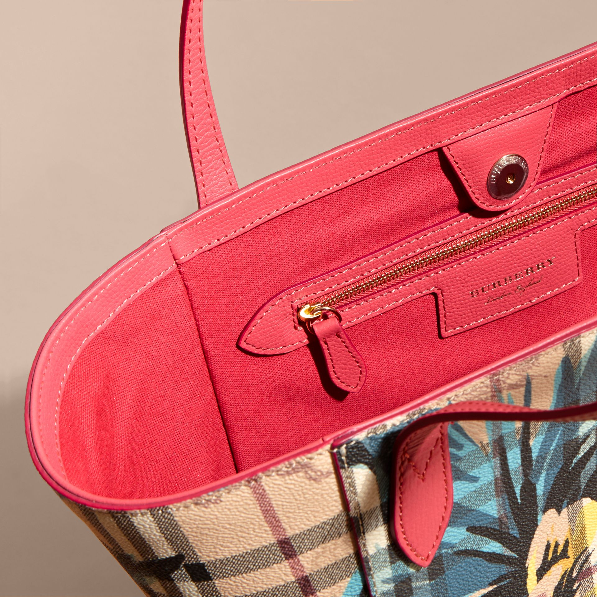 The Small Canter in Peony Rose Print Haymarket Check in Plum Pink/pewtr Blue - gallery image 5