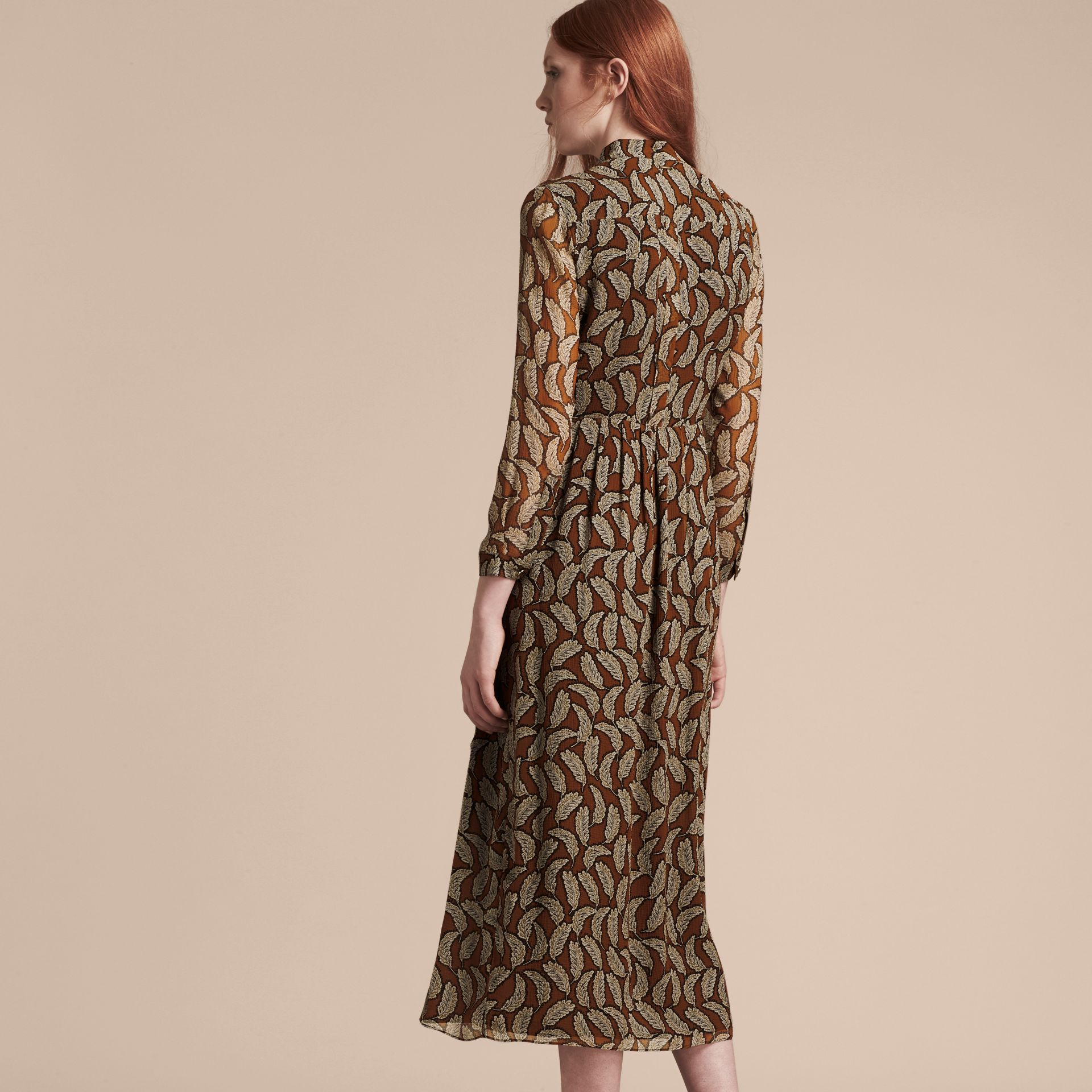 Bright toffee Floral Silk Georgette Dress - gallery image 3