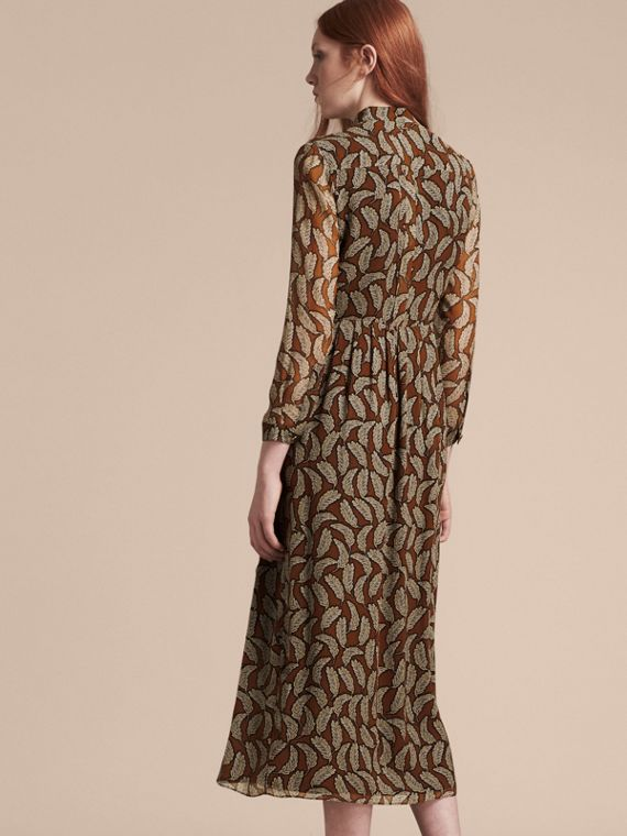 Bright toffee Floral Silk Georgette Dress - cell image 2