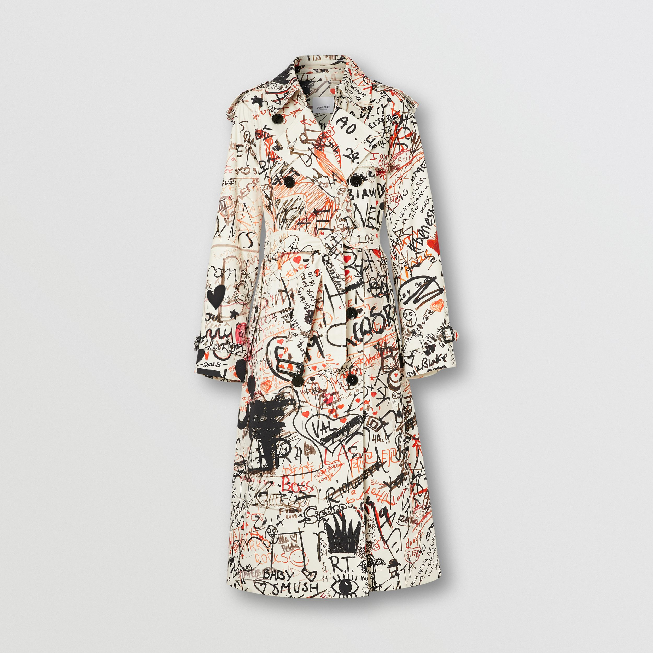 Graffiti Print Cotton Gabardine Trench Coat in Black - Women | Burberry - 4