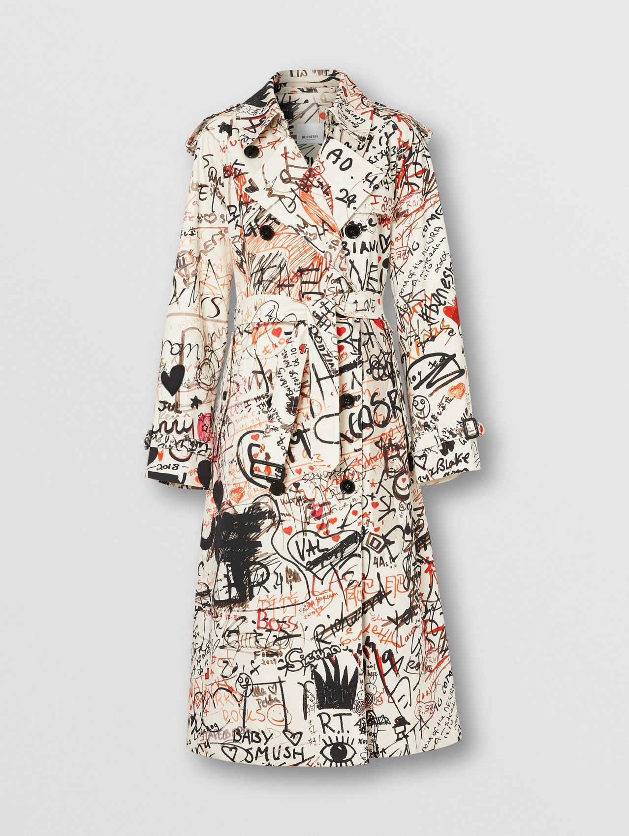 Graffiti Print Cotton Gabardine Trench Coat in Black