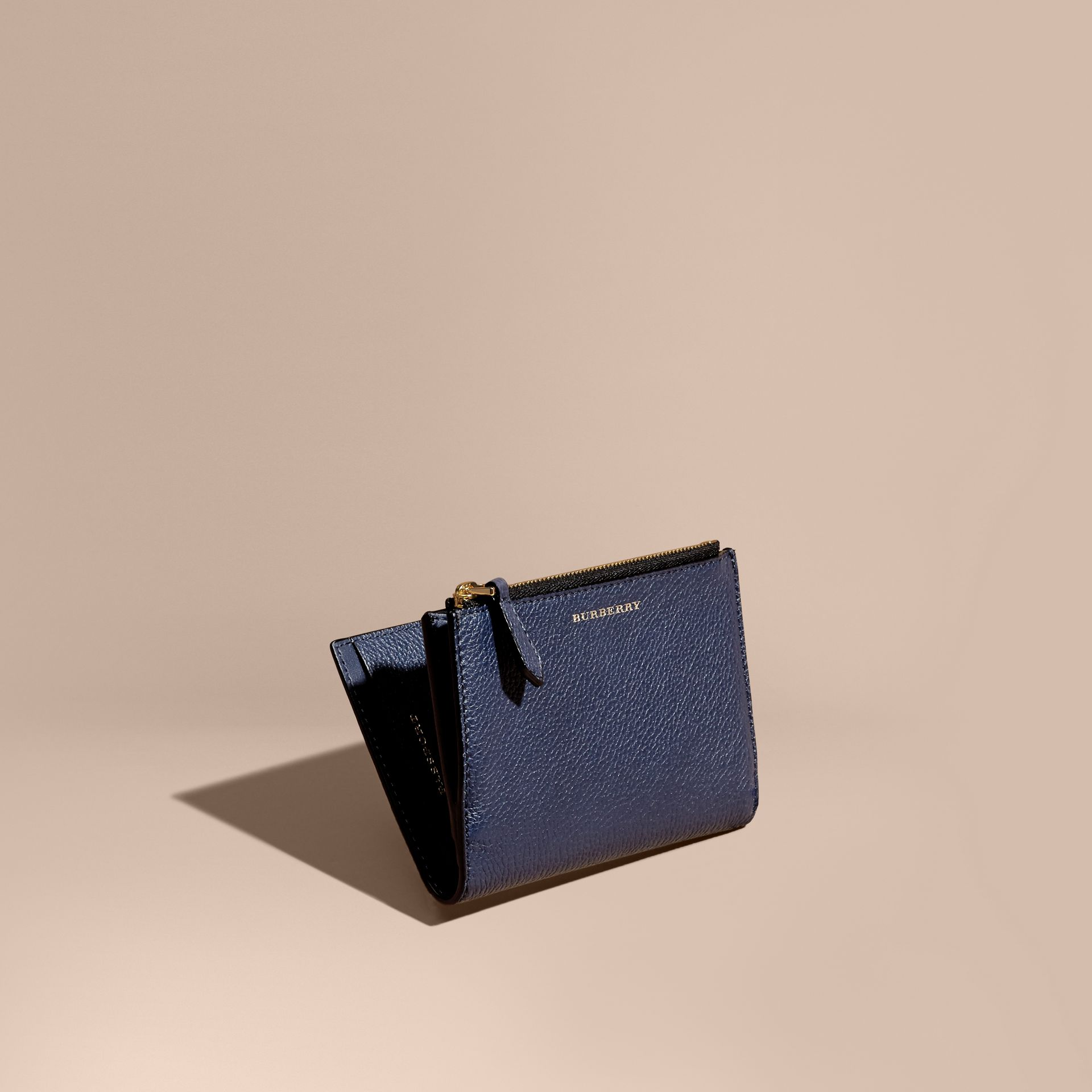 Leather Passport Wallet in Bright Navy | Burberry - gallery image 1