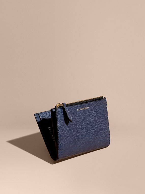Leather Passport Wallet Bright Navy