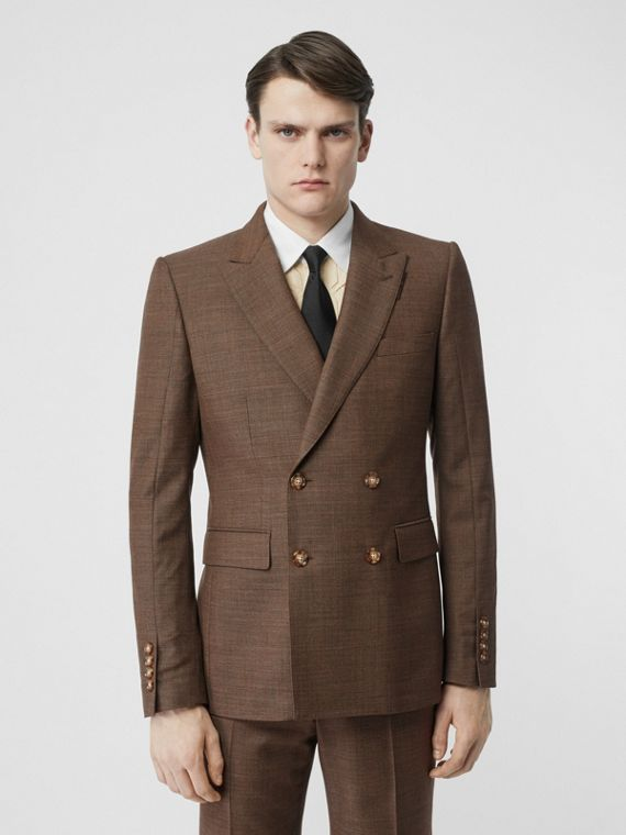 English Fit Sharkskin Wool Double-breasted Jacket in Deep Brown