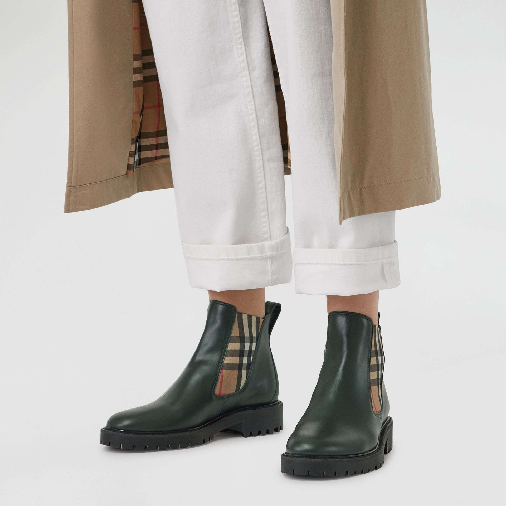 Vintage Check Detail Leather Chelsea Boots in Bottle Green - Women | Burberry - gallery image 2