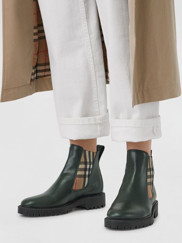 Vintage Check Detail Leather Chelsea Boots in Bottle Green - Women | Burberry - cell image 2