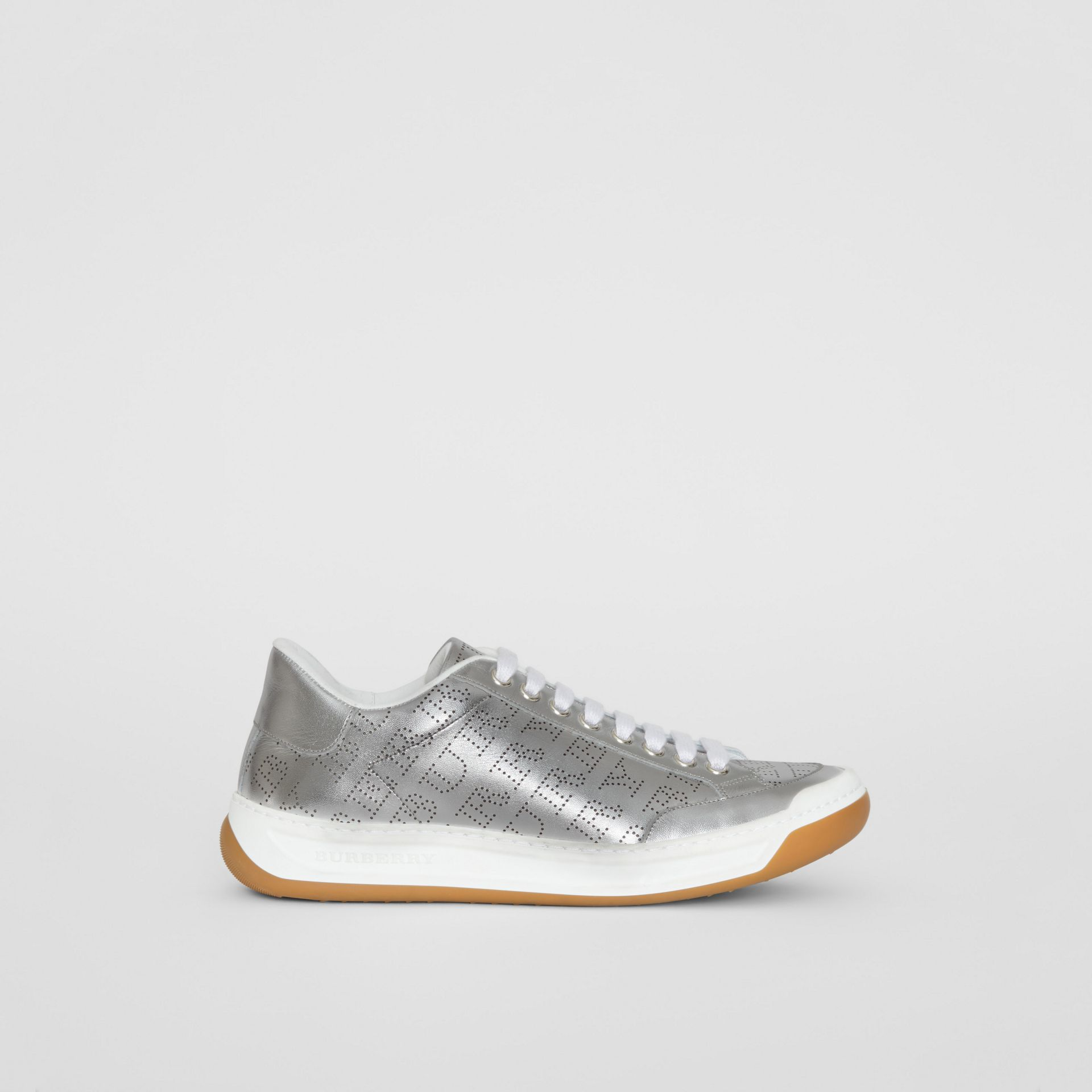 Perforated Logo Metallic Leather Sneakers in Silver Grey - Women | Burberry - gallery image 5