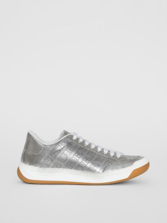 Perforated Logo Metallic Leather Sneakers in Silver Grey