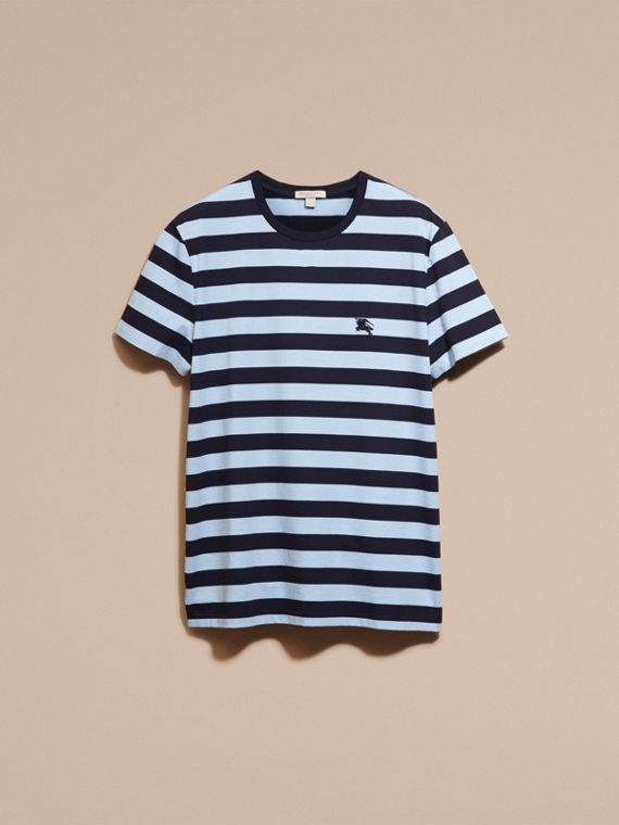 Navy Striped Cotton T-Shirt Navy - cell image 2