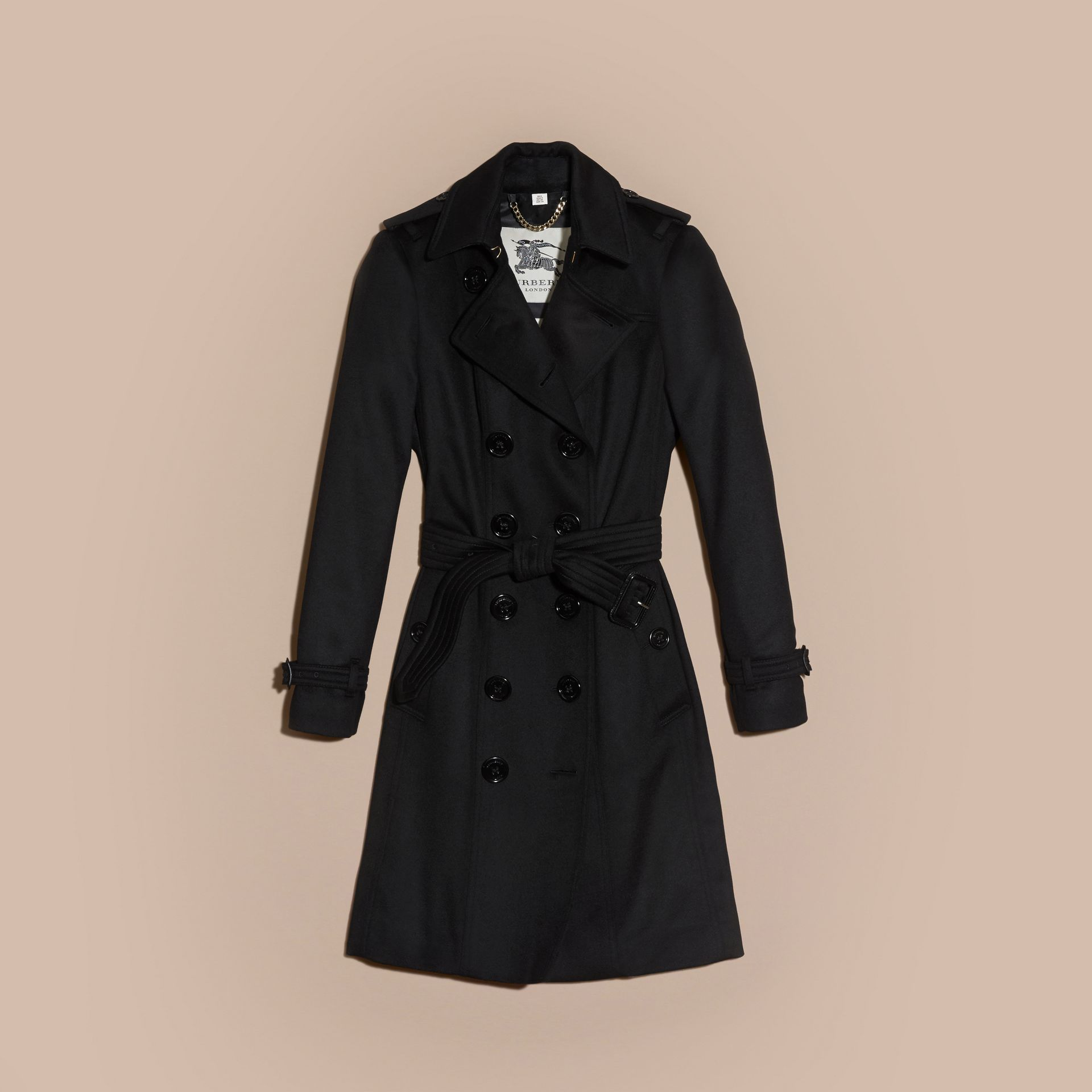 Black Sandringham Fit Cashmere Trench Coat Black - gallery image 4