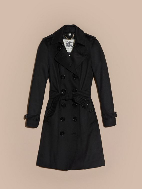 Black Sandringham Fit Cashmere Trench Coat Black - cell image 3