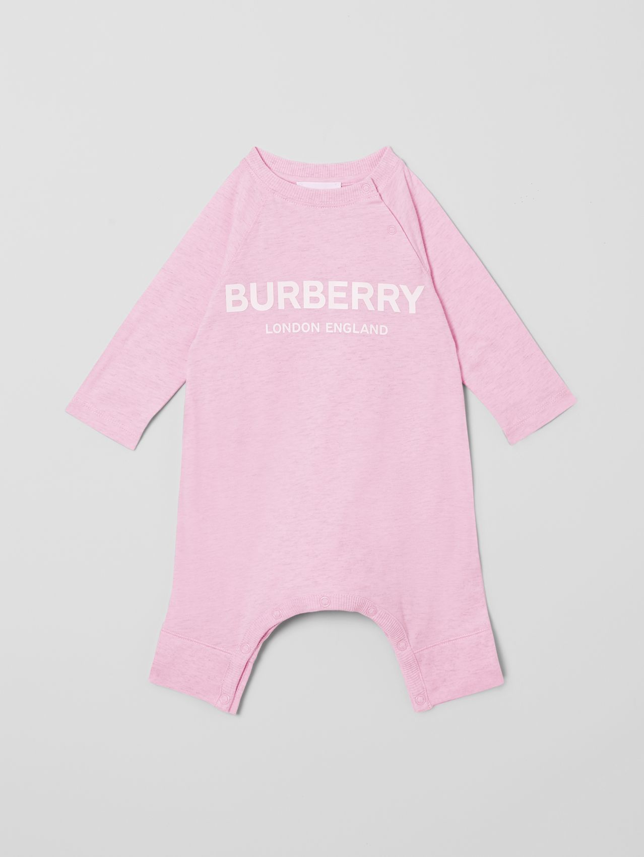 Logo Print Cotton Three-piece Baby Gift Set in Pale Pink
