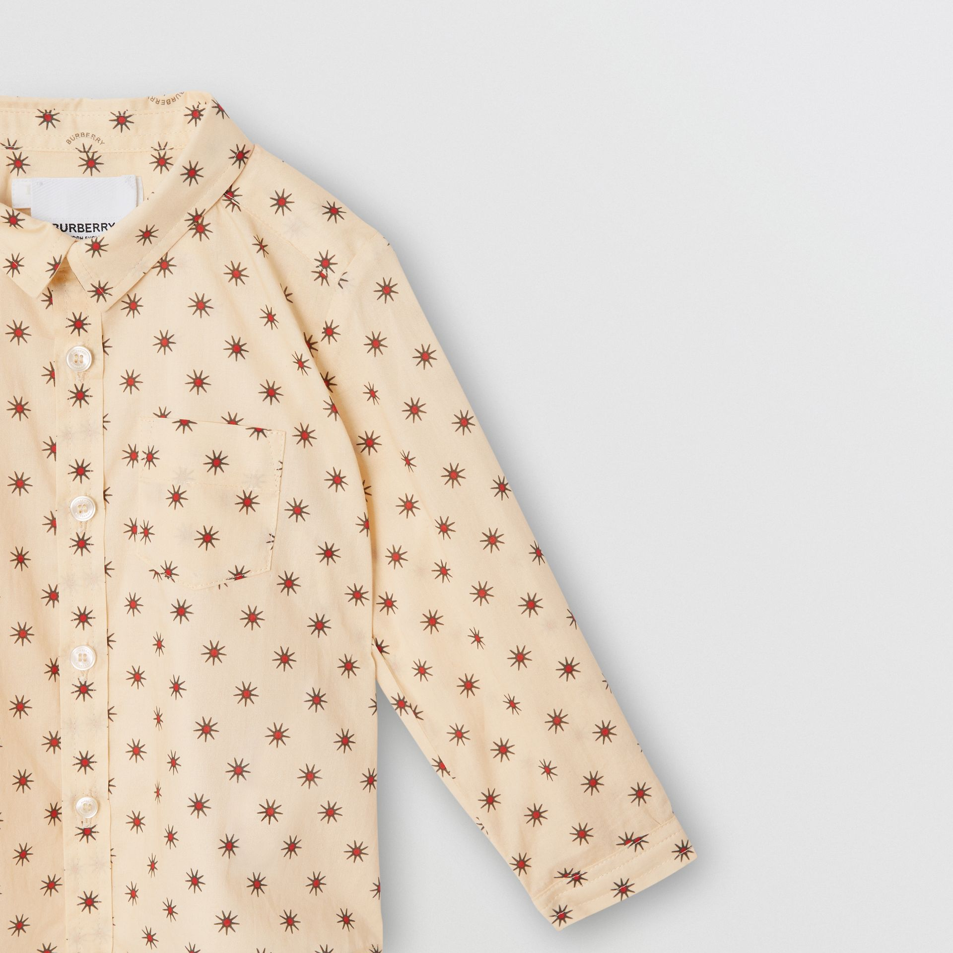 Star Print Cotton Shirt in Military Red - Children | Burberry Canada - gallery image 4