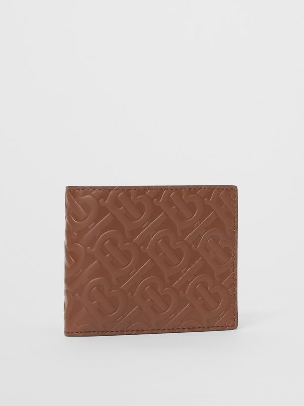 Monogram Leather International Bifold Wallet in Dark Tan - Men | Burberry - cell image 3