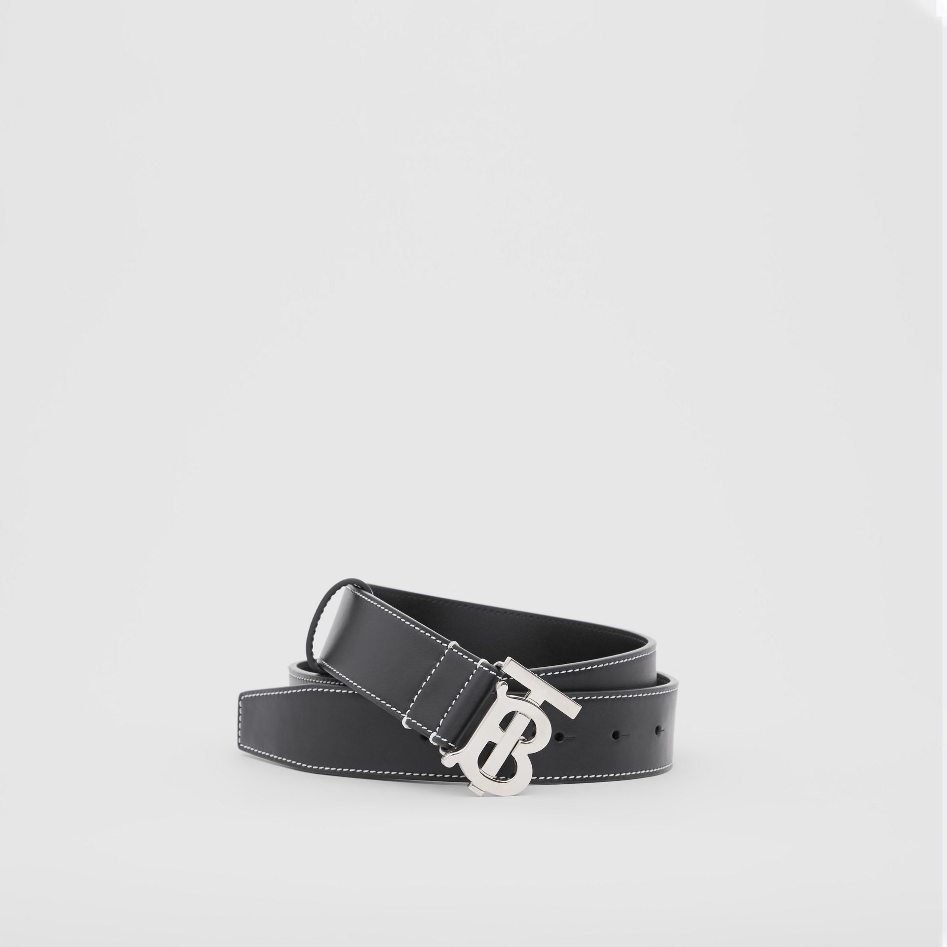 Monogram Motif Topstitched Leather Belt in Black - Men | Burberry - gallery image 0