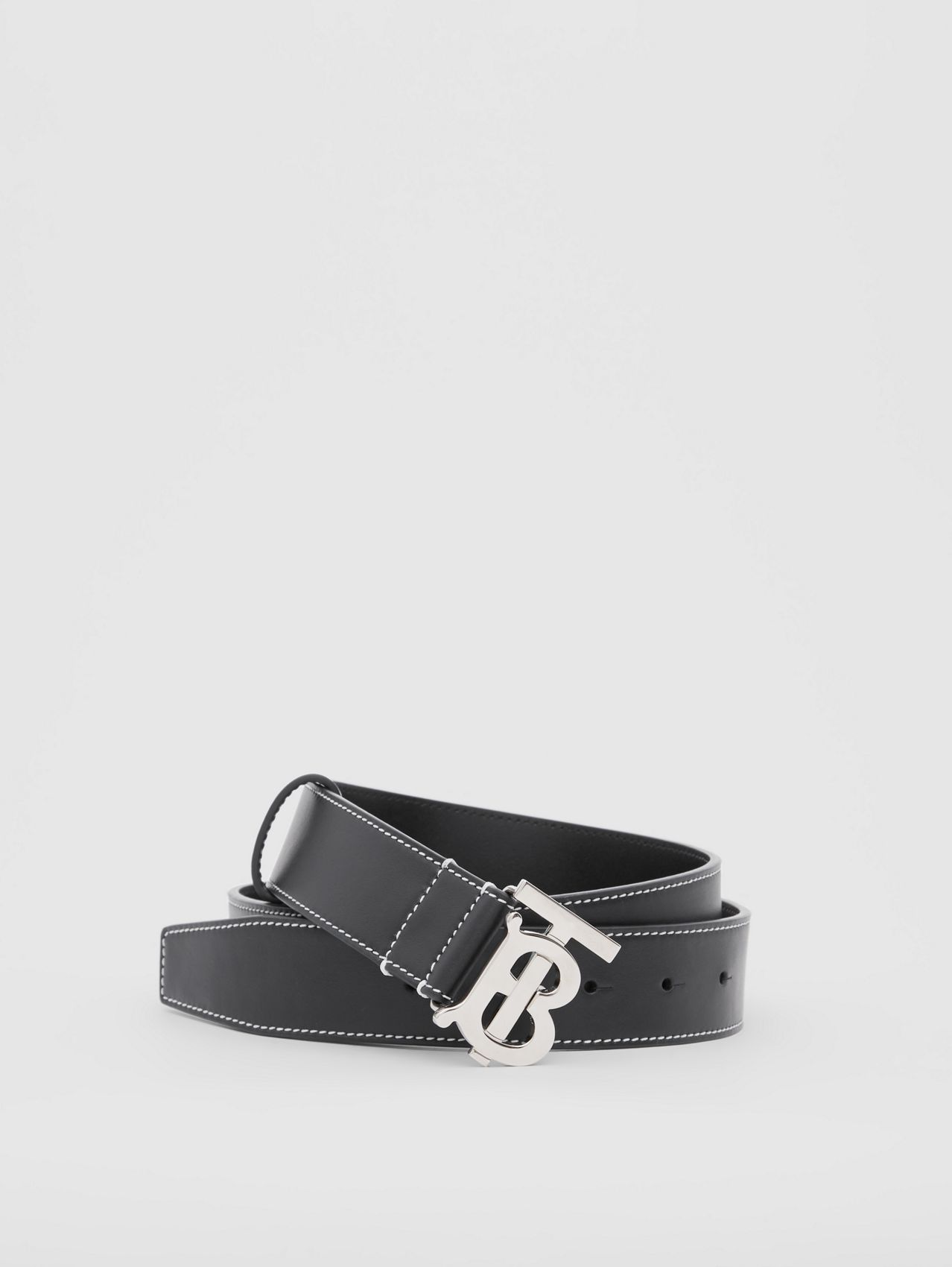 Monogram Motif Topstitched Leather Belt in Black