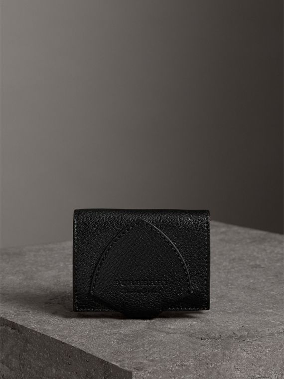 Equestrian Shield Two-tone Leather Folding Wallet in Black