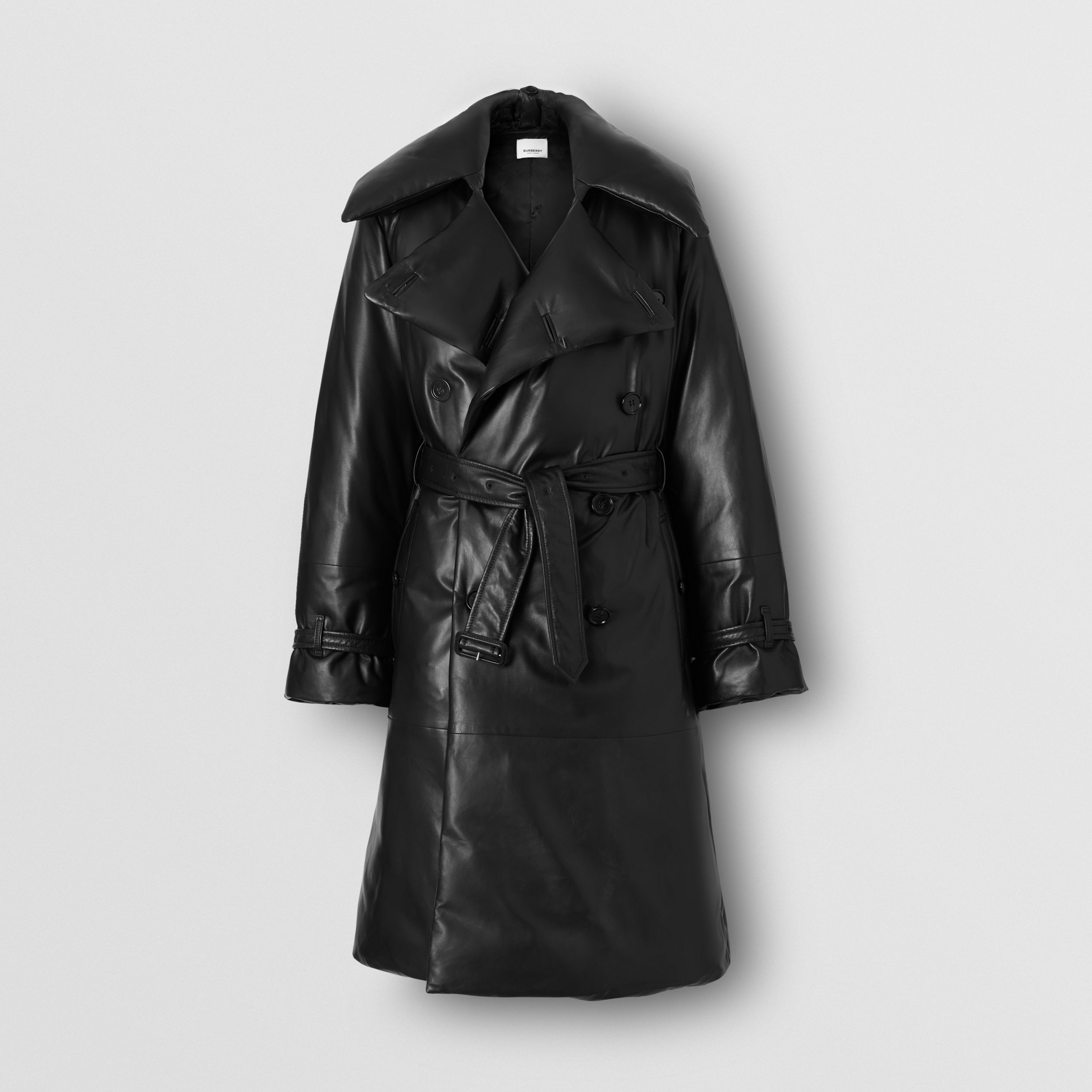 Lambskin Down-filled Oversized Trench Coat in Black - Women | Burberry - 4