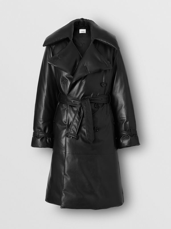 Lambskin Down-filled Oversized Trench Coat in Black - Women | Burberry - cell image 3