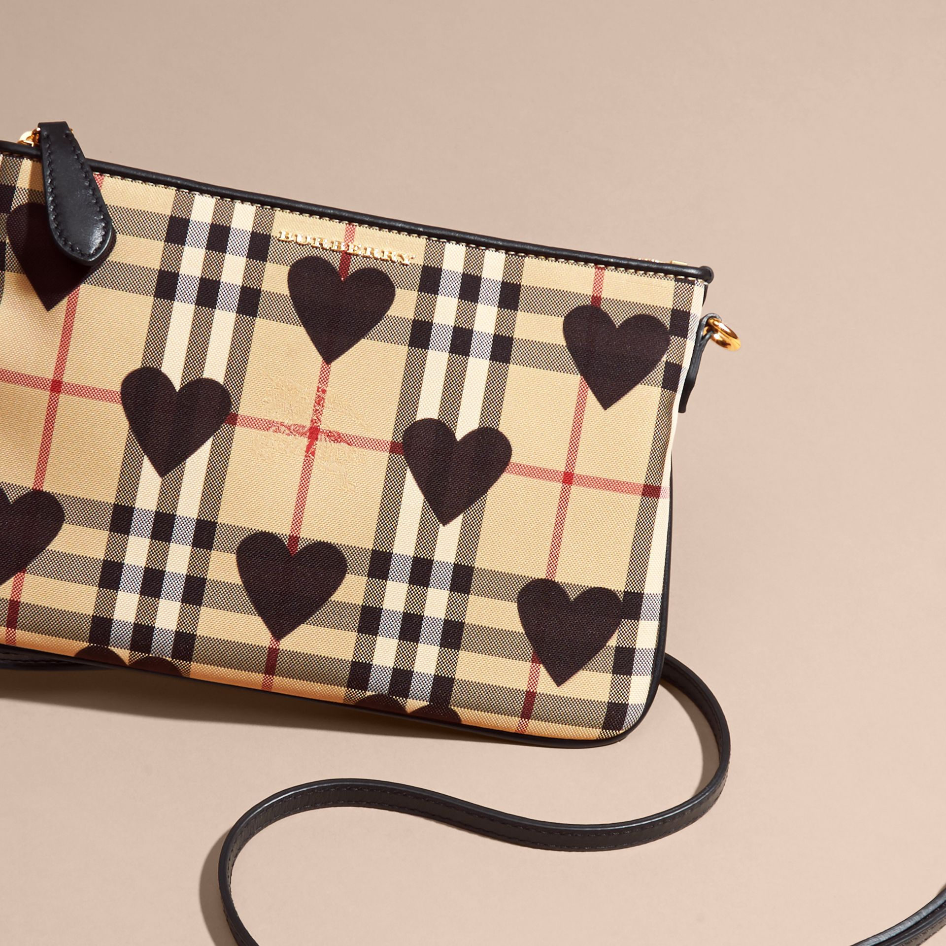 Black Heart Print Check and Leather Clutch Bag Black - gallery image 8