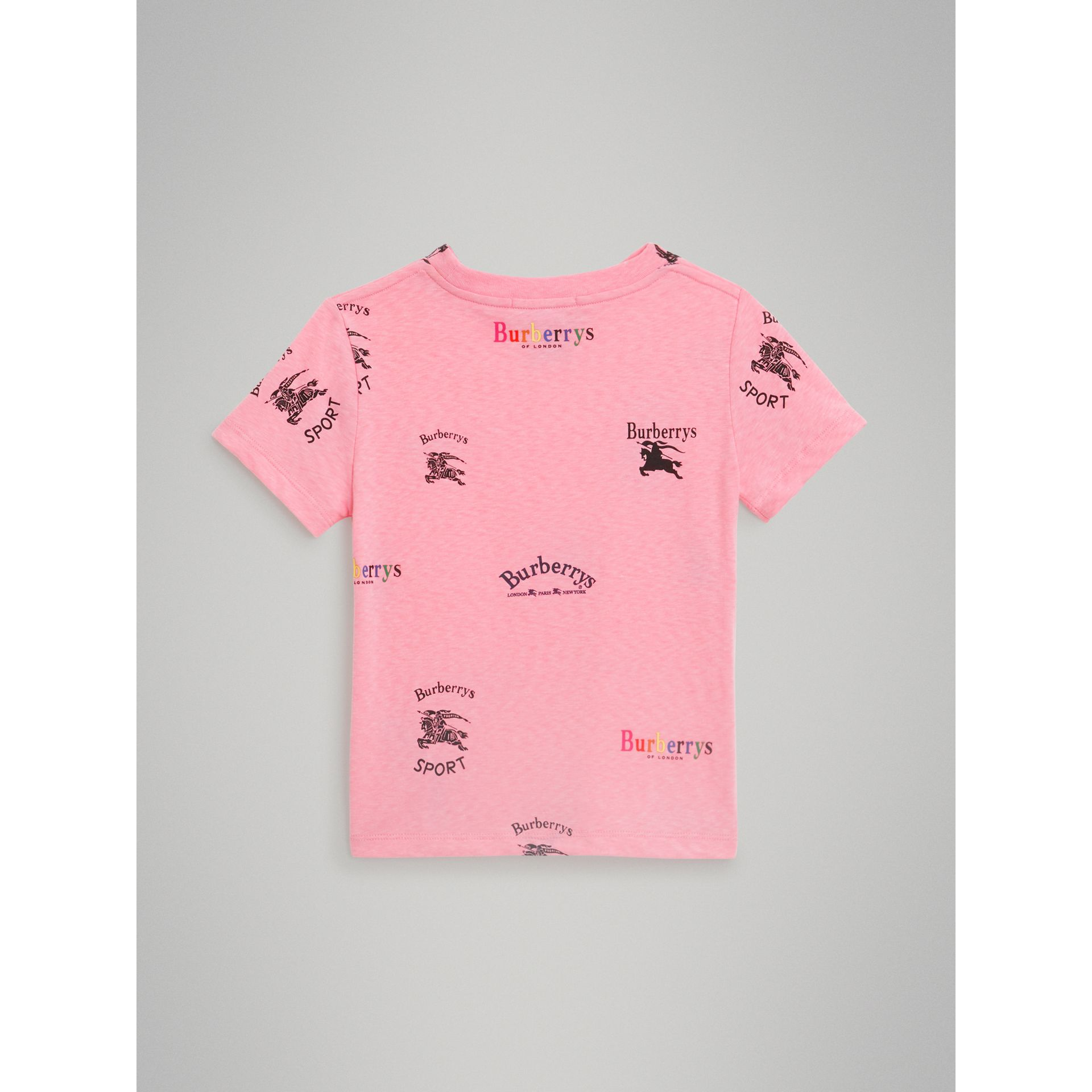 Archive Logo Print Jersey T-shirt in Neon Pink - Children | Burberry - gallery image 3