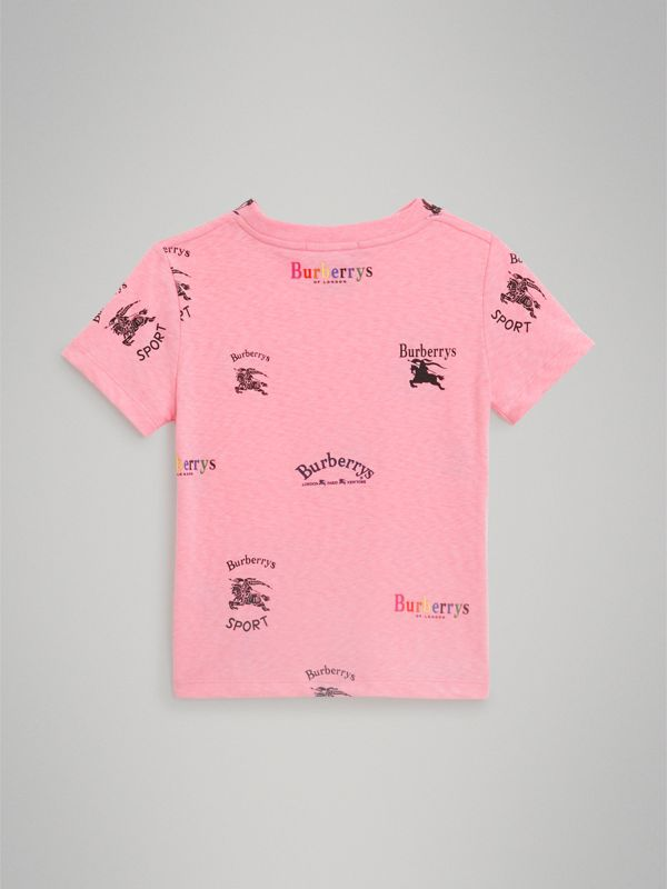 Archive Logo Print Jersey T-shirt in Neon Pink - Girl | Burberry - cell image 3