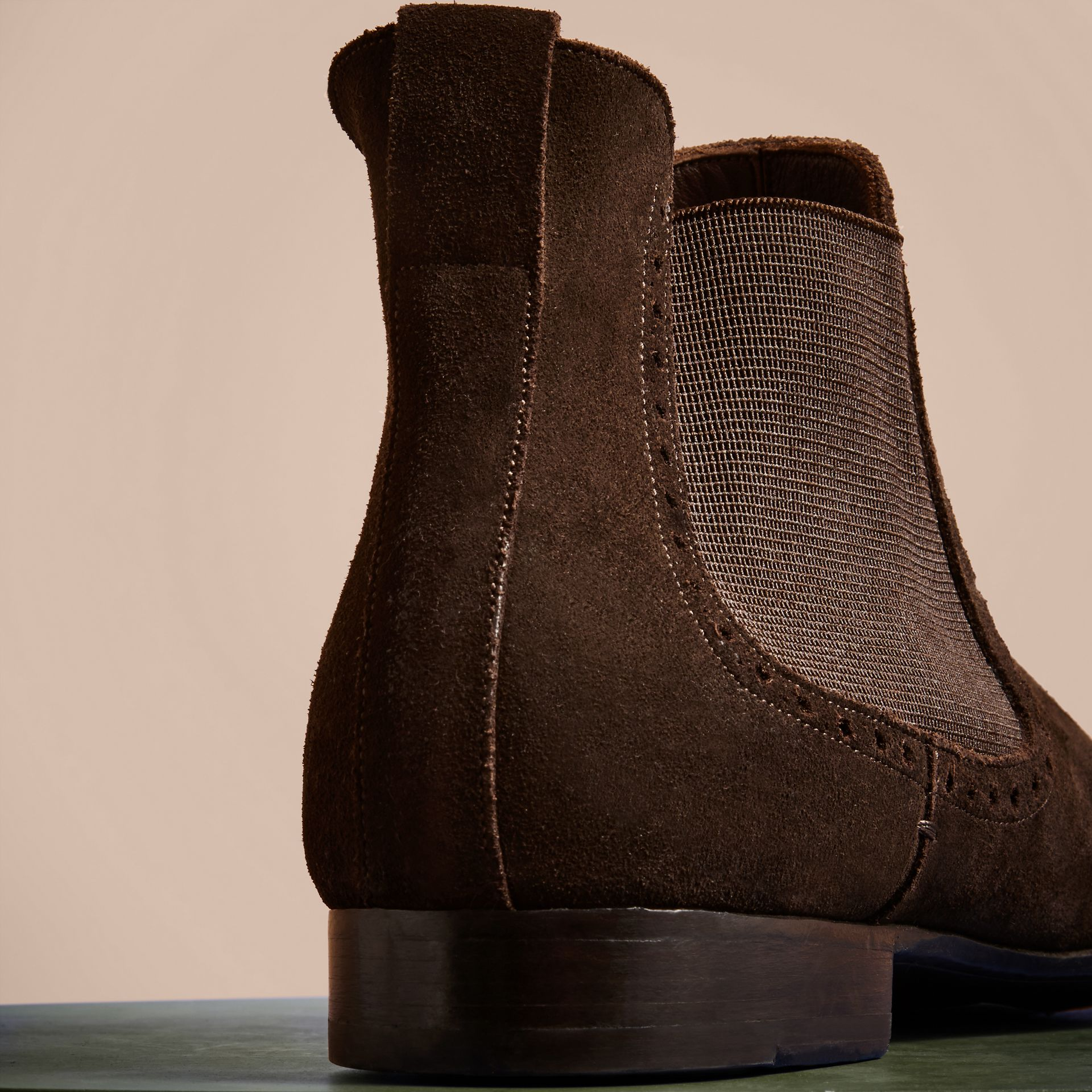 Peat brown Washed-suede Chelsea Boots with Leather Soles - gallery image 4