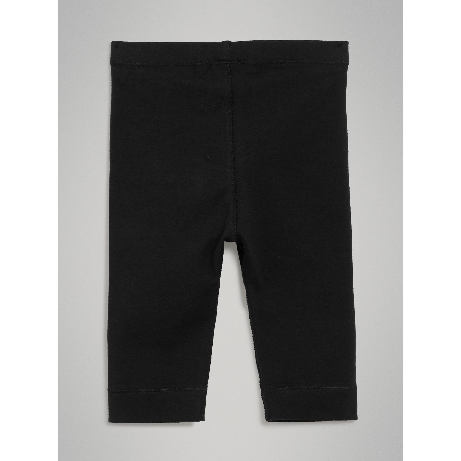 Legging en coton extensible avec logo (Noir) - Enfant | Burberry - photo de la galerie 3