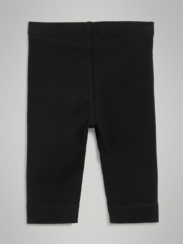 Logo Detail Stretch Cotton Leggings in Black - Children | Burberry Hong Kong - cell image 3