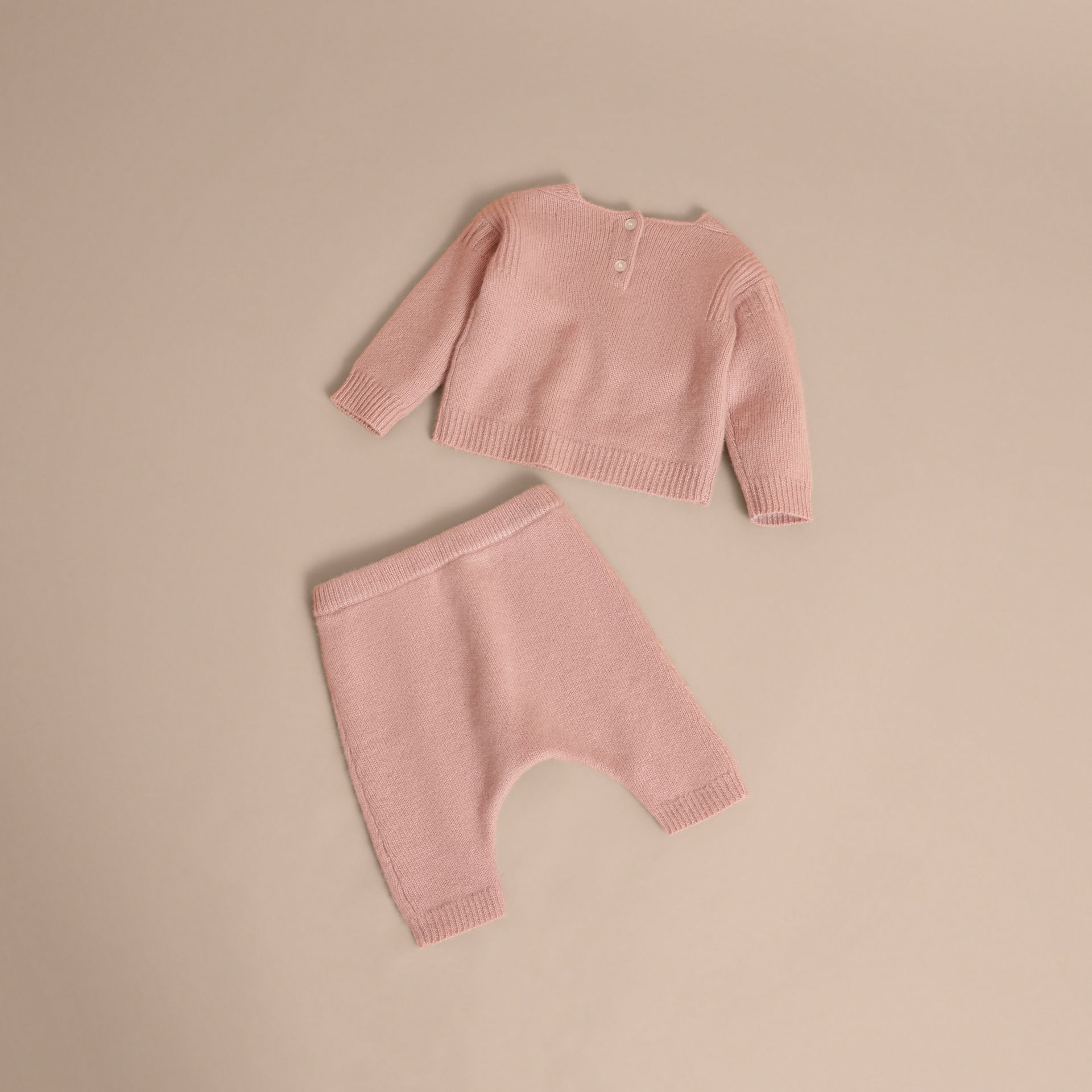 Cashmere Two-piece Baby Gift Set in Dusty Pink | Burberry - gallery image 3