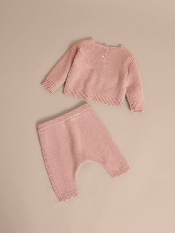 Cashmere Two-piece Baby Gift Set in Dusty Pink | Burberry - cell image 2