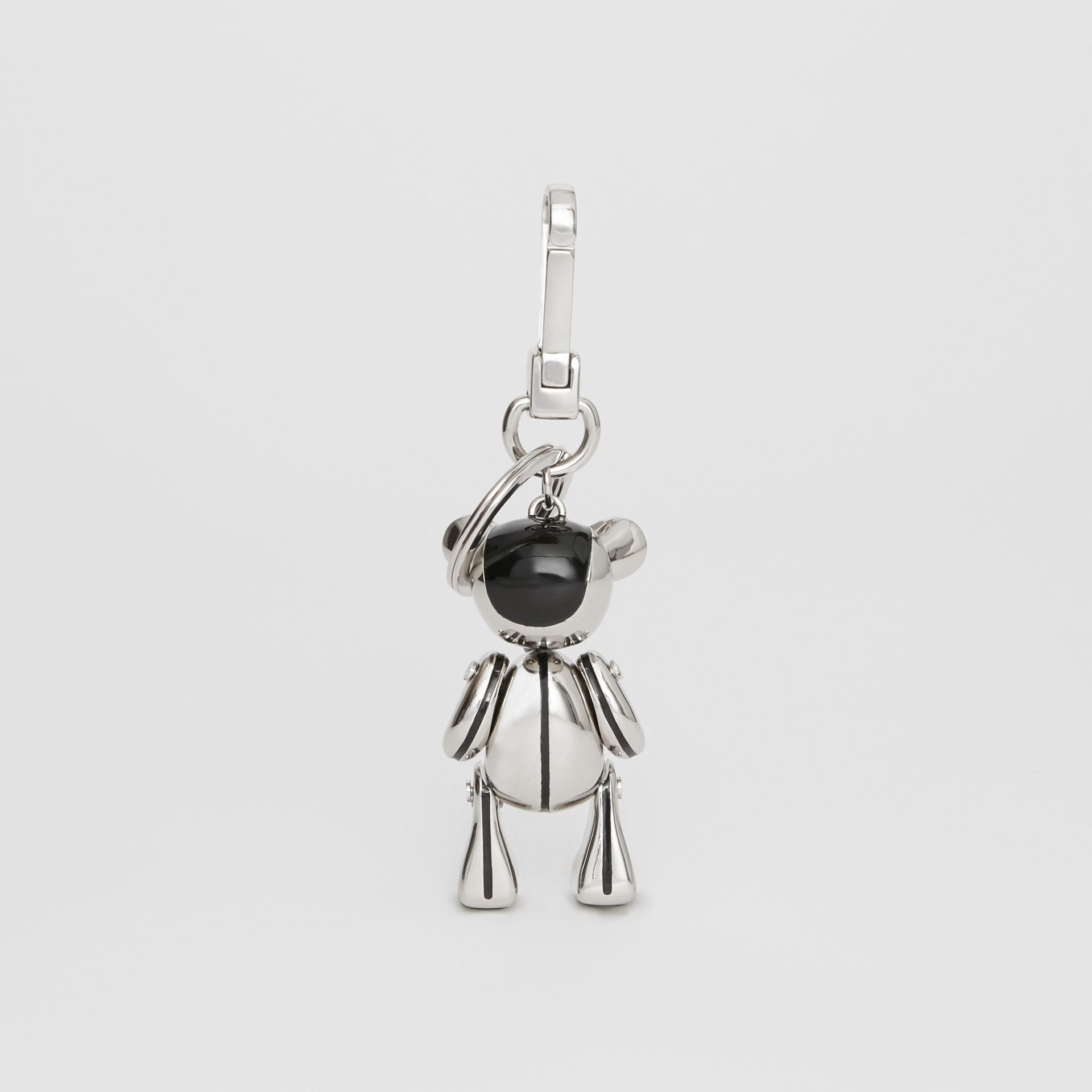 Palladium-plated Thomas Bear Charm in Black/silver | Burberry - gallery image 3