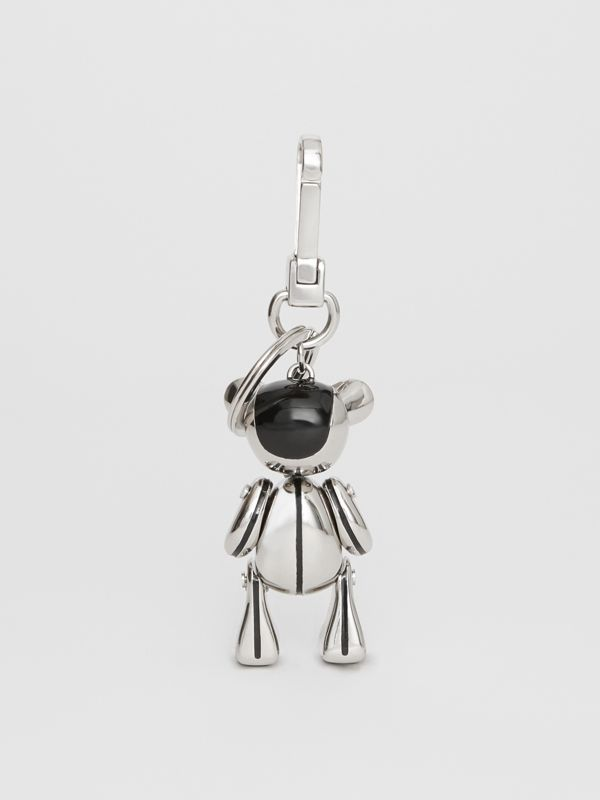 Palladium-plated Thomas Bear Charm in Black/silver | Burberry United Kingdom - cell image 3
