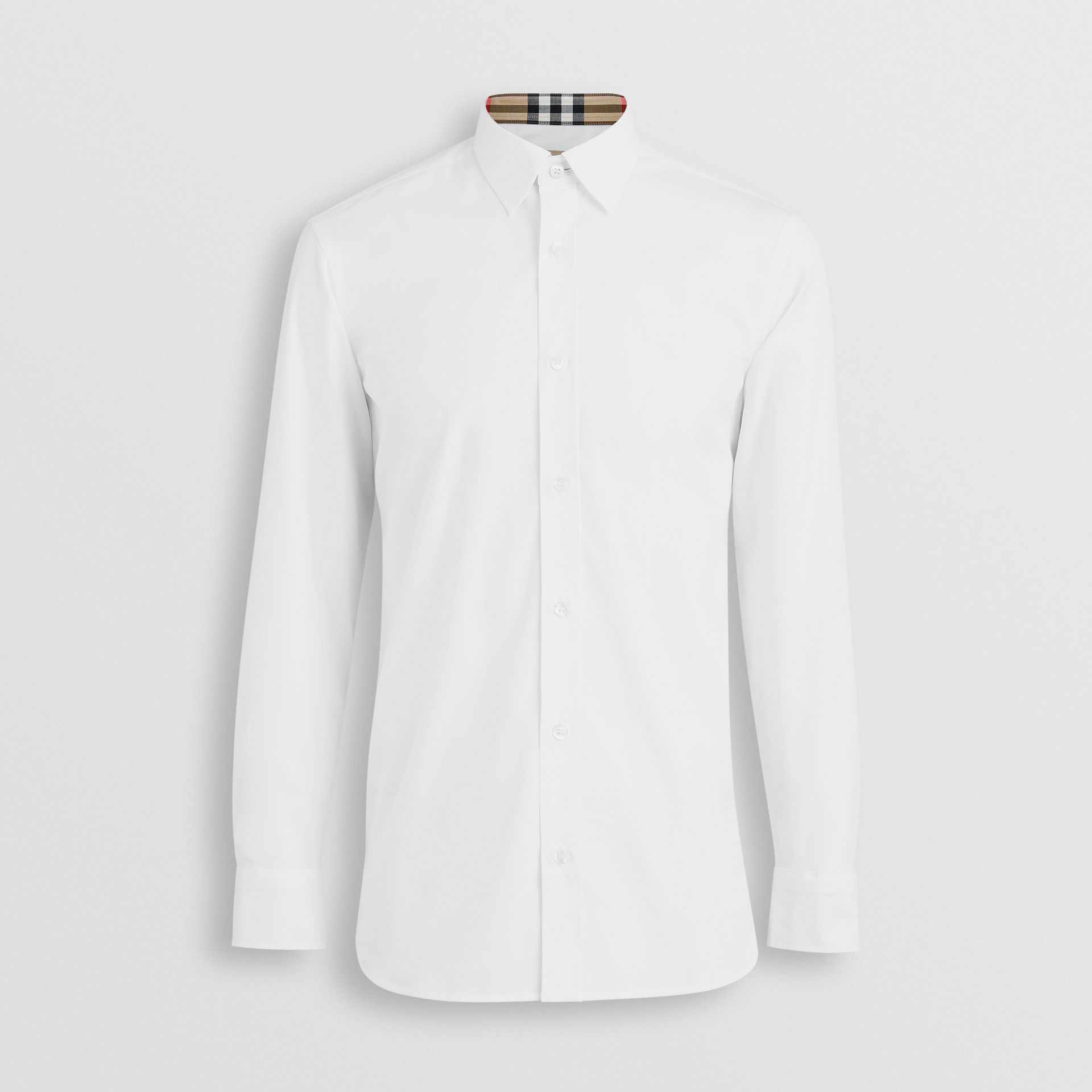 Stretch Cotton Poplin Shirt in White - Men | Burberry Australia - gallery image 3
