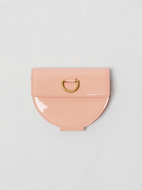 D-ring Detail Patent Leather Coin Case in Pale Fawn Pink