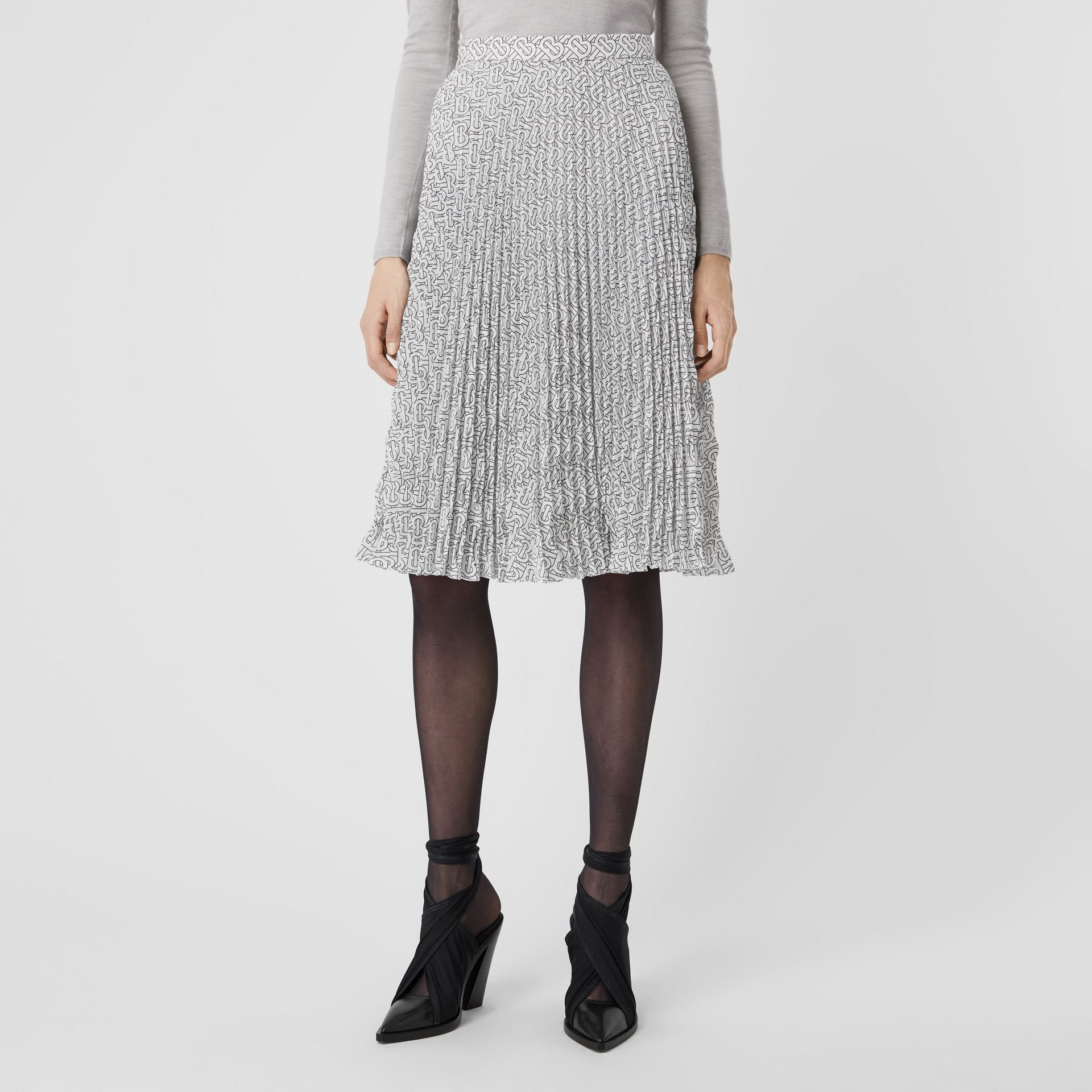 Monogram Print Crepe De Chine Pleated Skirt in White/black - Women | Burberry Australia - gallery image 4