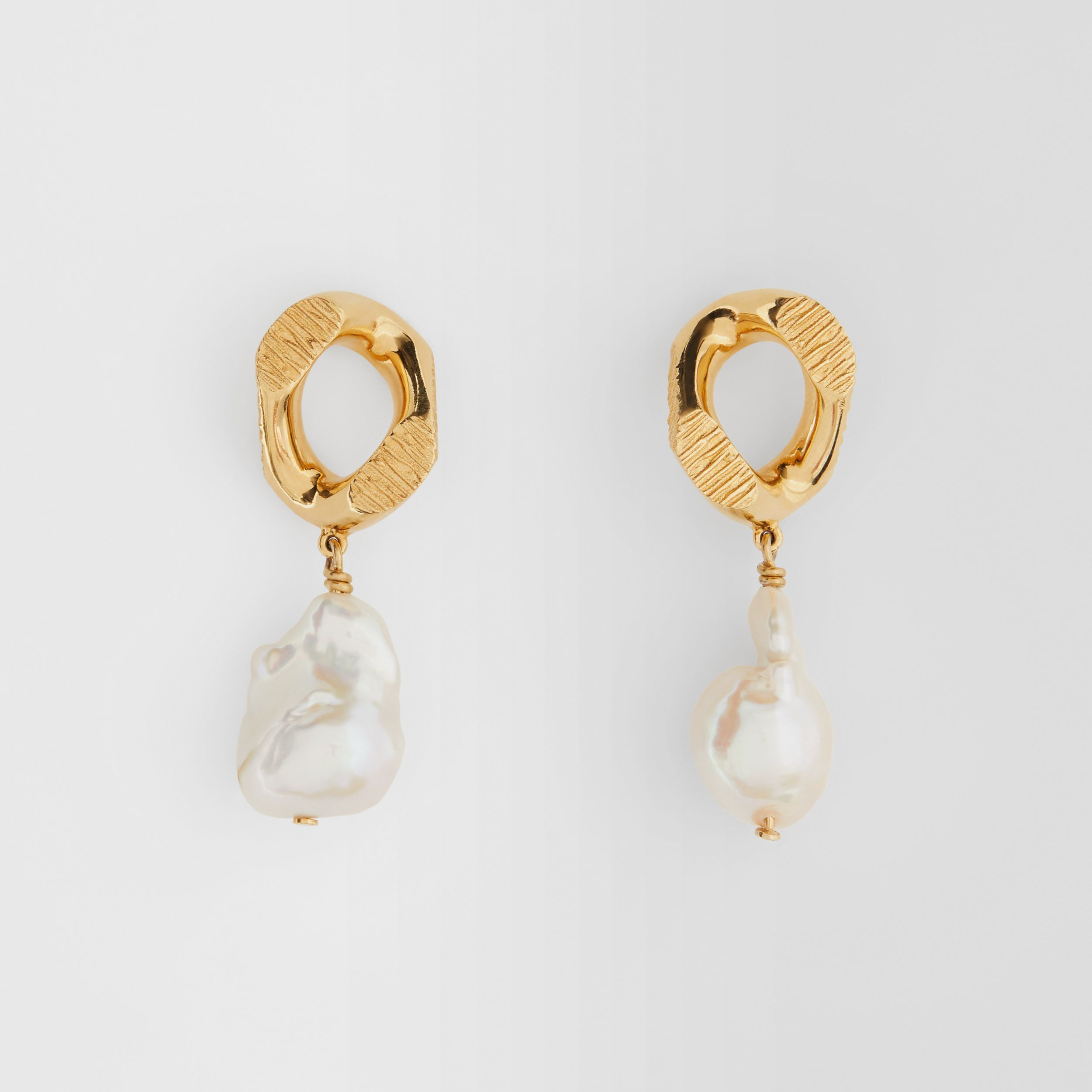 Pearl Detail Gold-plated Chain-link Earrings in Light Gold/white - Women | Burberry - 1