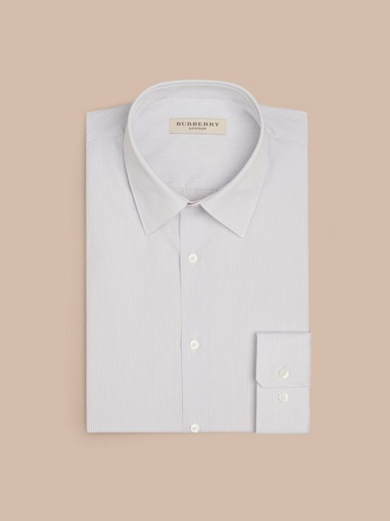 Slim Fit Striped Cotton Poplin Shirt in City Grey - Men | Burberry - cell image 3