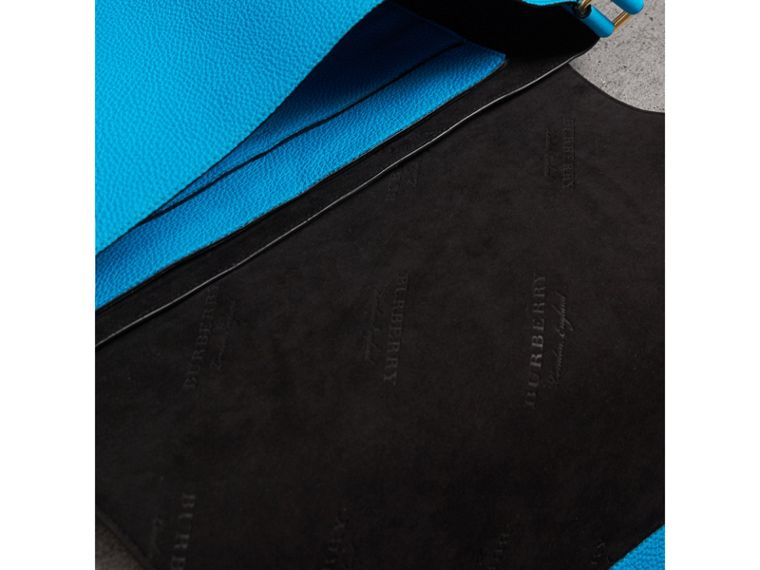 Large Embossed Leather Messenger Bag in Neon Blue | Burberry - cell image 4