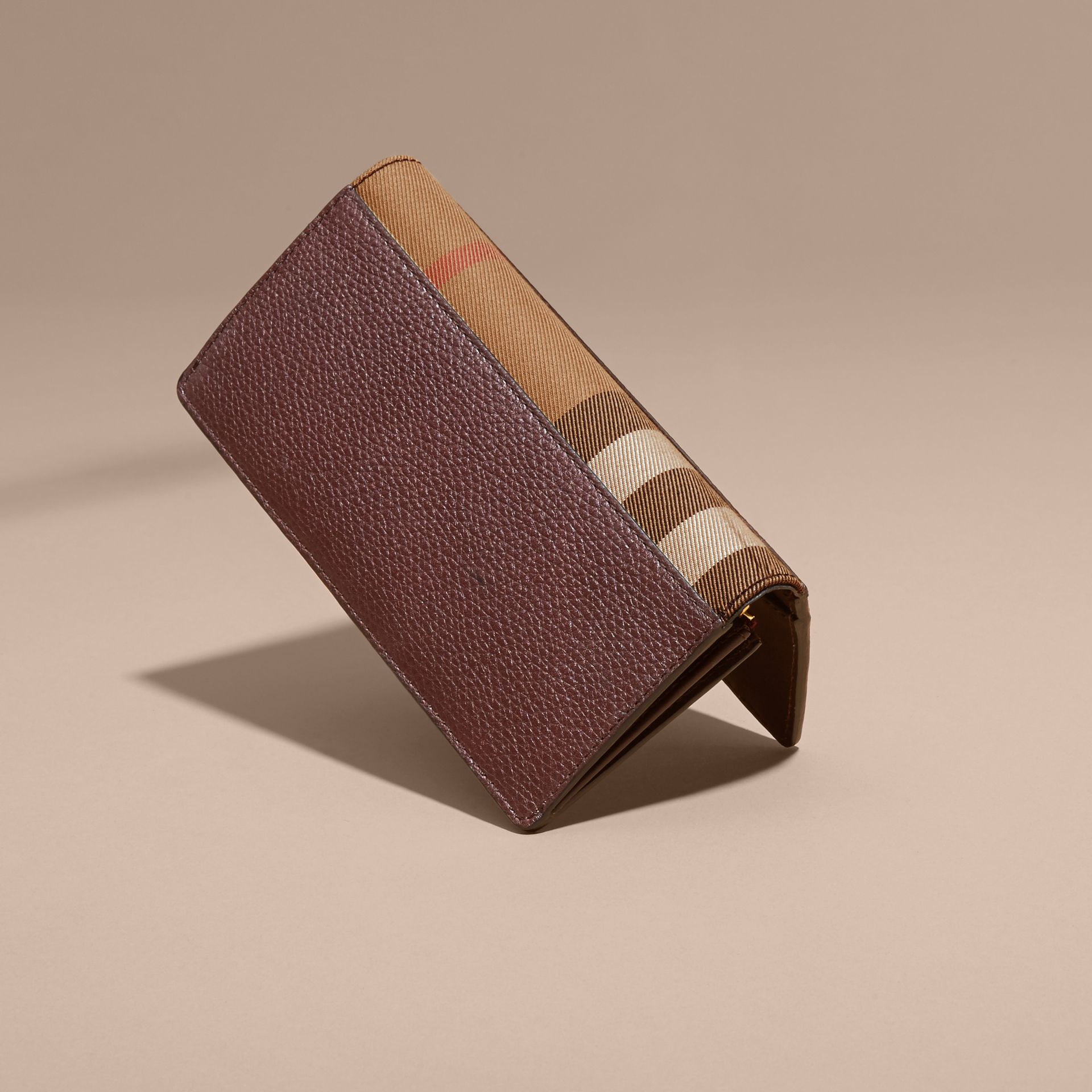 Wine House Check and Grainy Leather Continental Wallet Wine - gallery image 3